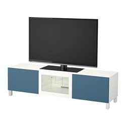 BESTÅ TV bench with drawers and door, white Valviken, dark blue clear glass Width: 180 cm Depth: 40 cm Height: 48 cm