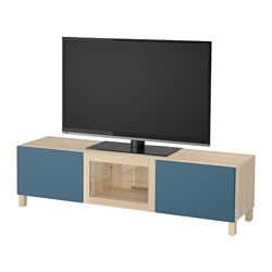 BESTÅ TV bench with drawers and door, white stained oak effect Valviken, dark blue clear glass Width: 180 cm Depth: 40 cm Height: 48 cm