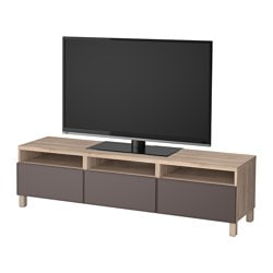 "BESTÅ TV unit with drawers, walnut effect light gray, Grundsviken dark gray Width: 70 7/8 "" Depth: 15 3/4 "" Height: 18 7/8 "" Width: 180 cm Depth: 40 cm Height: 48 cm"