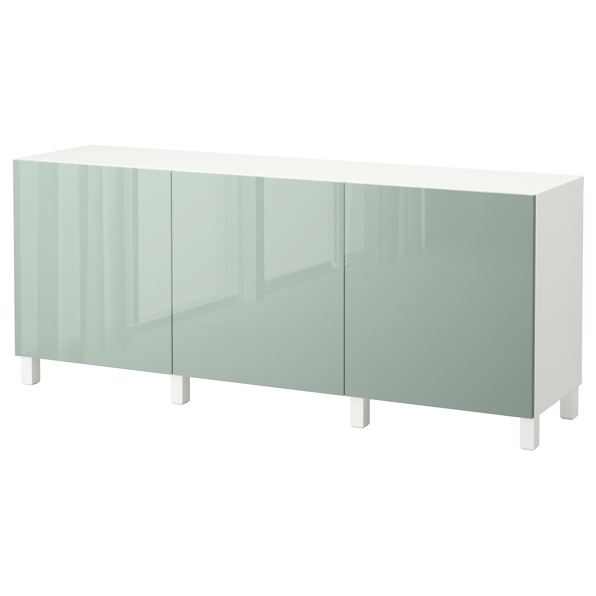 Storage Combination With Doors BestÅ White Selsviken High Gloss Light Grey Green