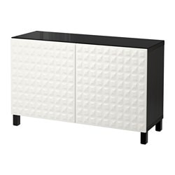 BESTÅ storage combination with doors, black-brown, Djupviken white Width: 120 cm Depth: 40 cm Height: 74 cm