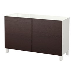 BESTÅ storage combination with doors, white, Inviken black-brown Width: 120 cm Depth: 40 cm Height: 74 cm