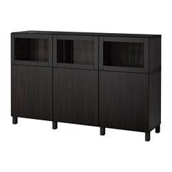 "BESTÅ storage combination with doors, black-brown Lappviken, Sindvik black-brown clear glass Width: 70 7/8 "" Depth: 15 3/4 "" Height: 44 1/8 "" Width: 180 cm Depth: 40 cm Height: 112 cm"