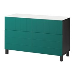 BESTÅ storage combination w doors/drawers, black-brown, Hallstavik blue-green