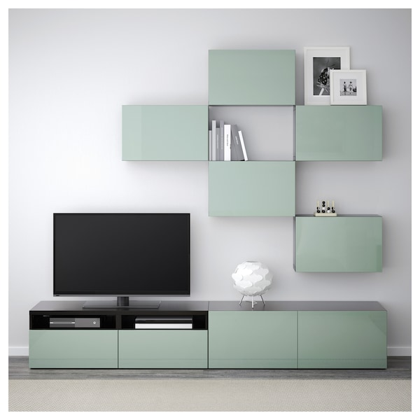 best tv m bel kombination schwarzbraun selsviken hochglanz hell graugr n ikea. Black Bedroom Furniture Sets. Home Design Ideas