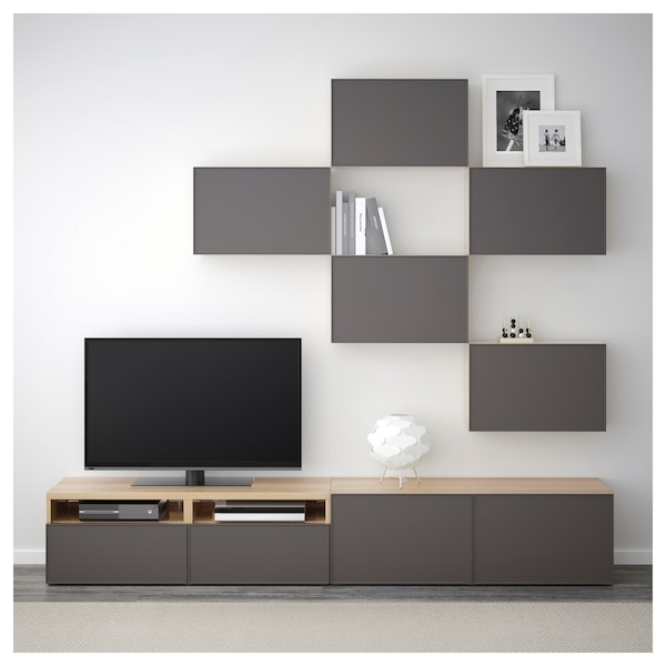 best tv m bel kombination eicheneff wlas grundsviken dunkelgrau ikea. Black Bedroom Furniture Sets. Home Design Ideas