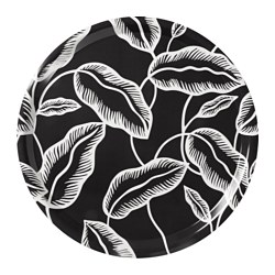 AVSIKTLIG tray, black, white leaves Diameter: 43 cm