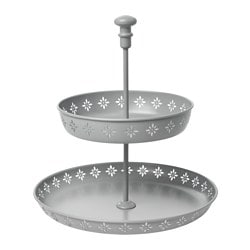 HEMMAFEST serving stand, two tiers, light grey Height: 33 cm Diameter: 29 cm