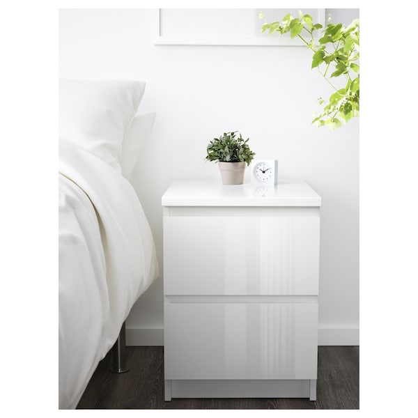 Malm Chest Of 2 Drawers White High Gloss Ikea