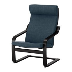 POÄNG armchair, black-brown, Hillared dark blue