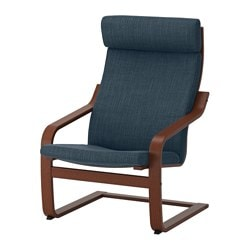 POÄNG Armchair, Medium Brown, Hillared Dark Blue