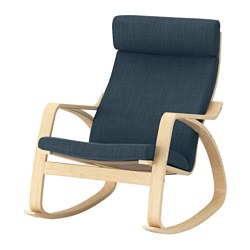 POÄNG rocking-chair, birch veneer, Hillared dark blue Width: 68 cm Depth: 94 cm Height: 95 cm