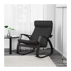 POÄNG Rocking Chair, Black Brown, Hillared Anthracite