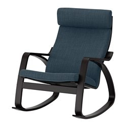 POÄNG rocking-chair, black-brown, Hillared dark blue Width: 68 cm Depth: 94 cm Height: 95 cm