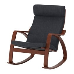 POÄNG rocking chair, medium brown, Hillared anthracite