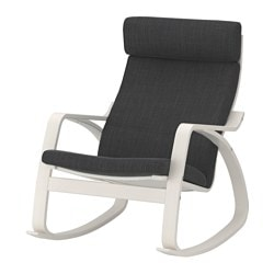 POÄNG rocking-chair, white, Hillared anthracite Width: 68 cm Depth: 94 cm Height: 95 cm
