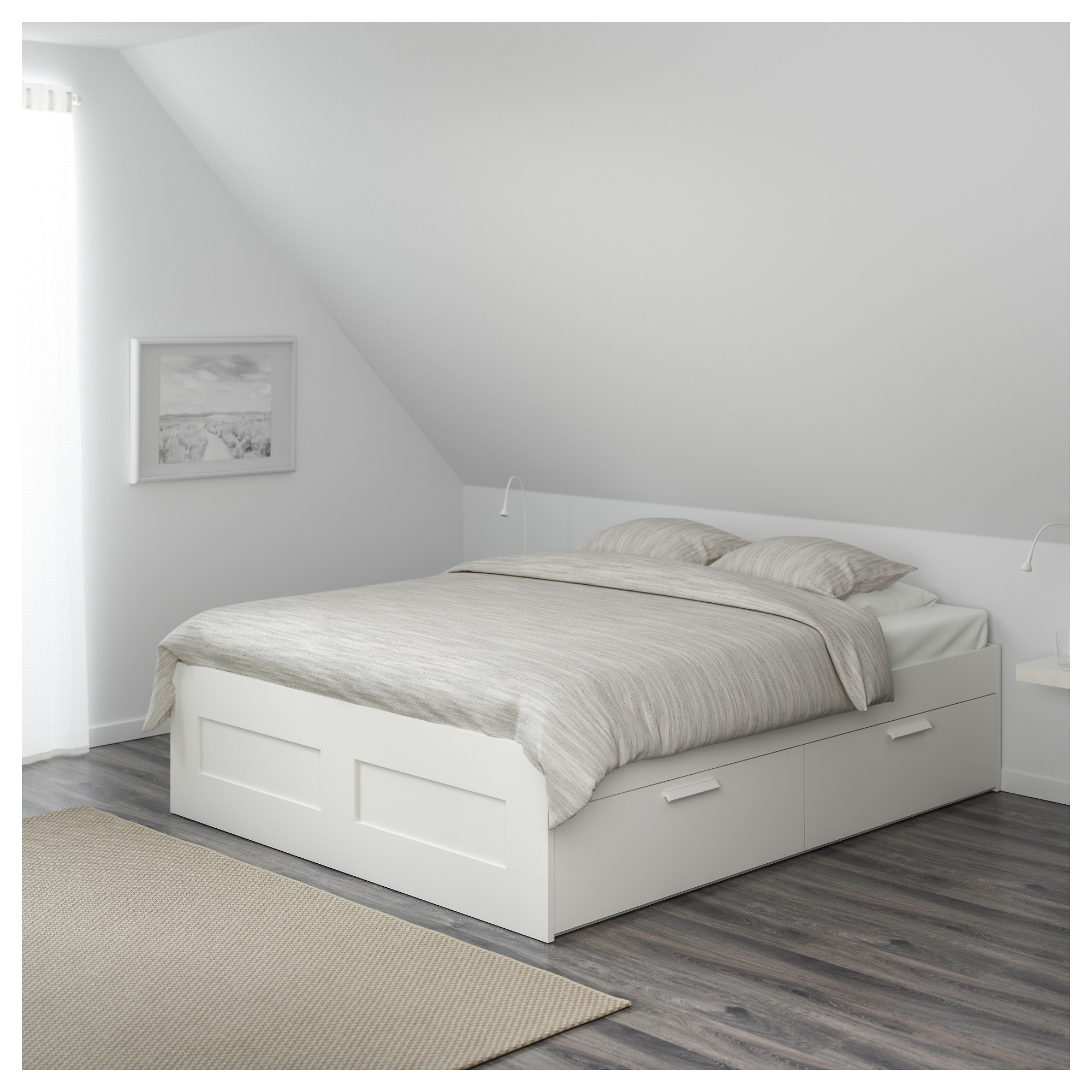 Brimnes Bed Frame With Storage 140x200 Cm White Ikea