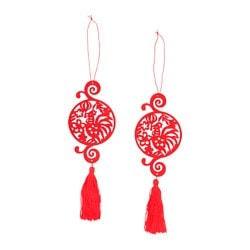 LYCKSALIG hanging decoration, red Height: 22 cm Diameter: 7.5 cm Package quantity: 2 pieces