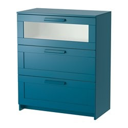 BRIMNES chest of 3 drawers, dark green-blue, frosted glass
