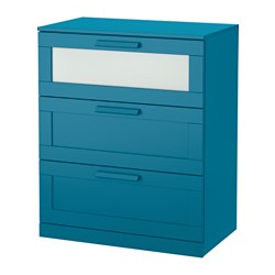 BRIMNES, 3-drawer chest, dark green-blue, frosted glass