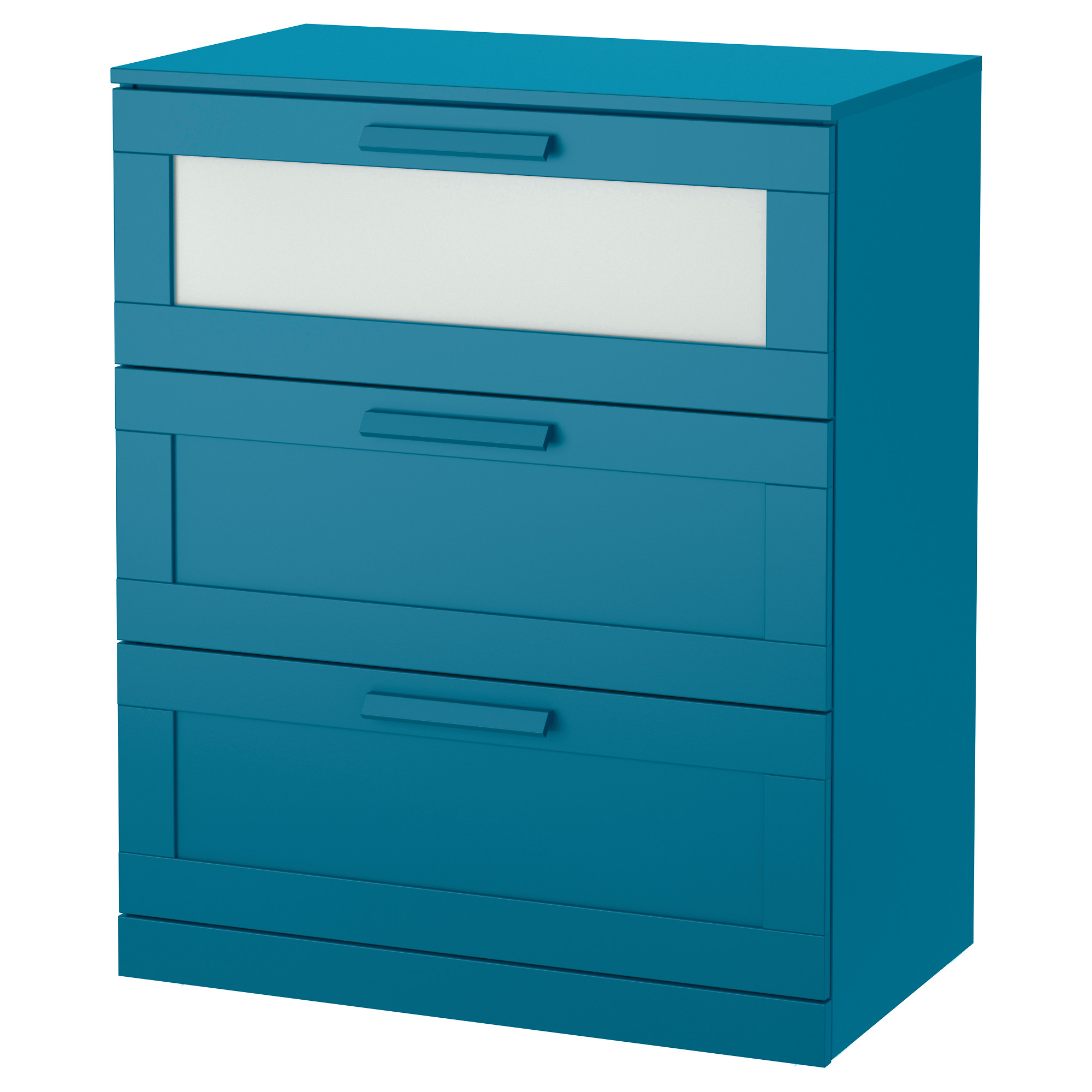 Ikea bedroom furniture chest of drawers - Brimnes 3 Drawer Chest Dark Green Blue Frosted Glass Width 30