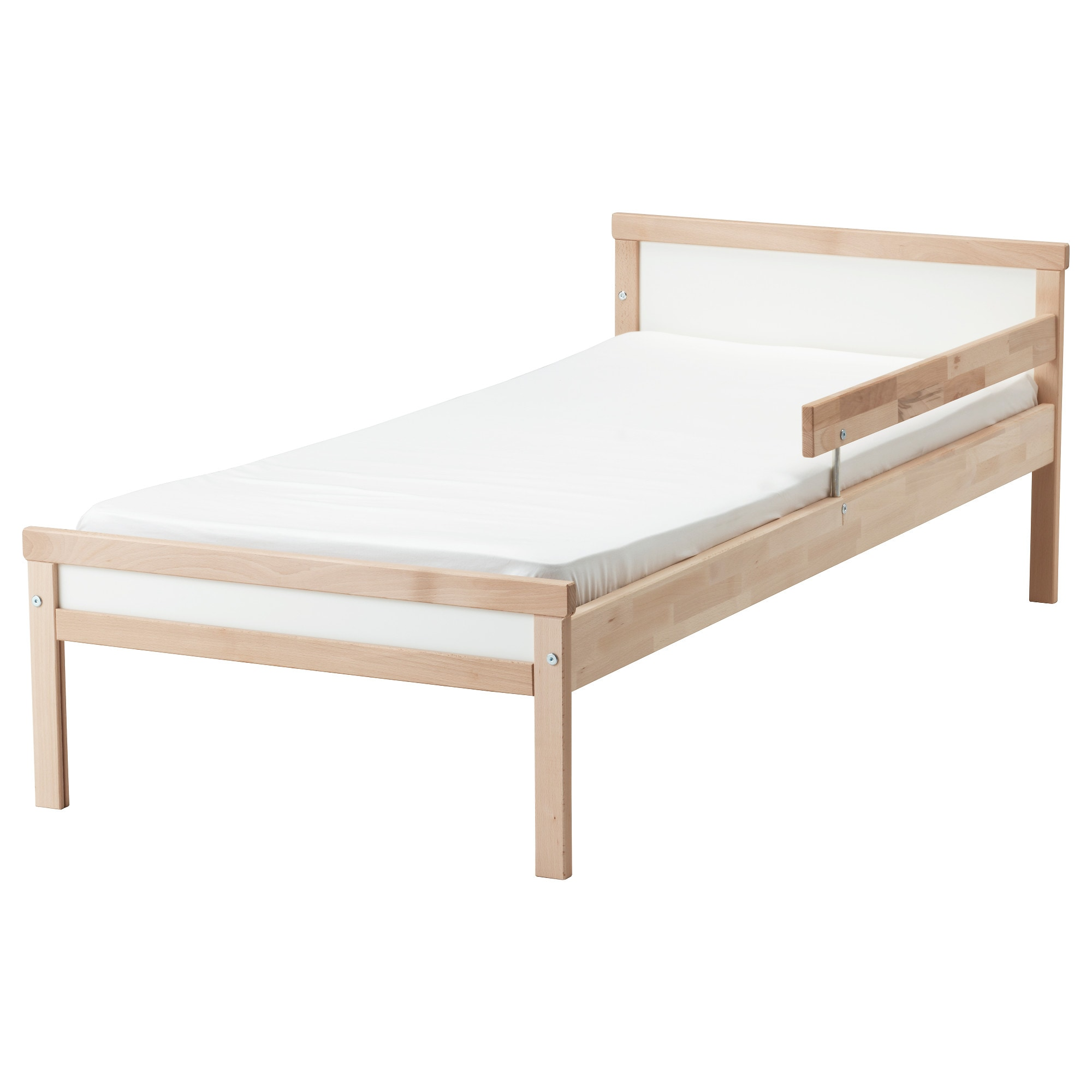 SNIGLAR bed frame with slatted bed base, beech Length: 65