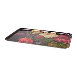 PRISTELLA tray, black, flowers