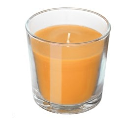"SINNLIG scented candle in glass, Tropical pineapple, yellow Height: 3 "" Burning time: 25 hr Height: 7.5 cm Burning time: 25 hr"