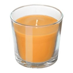 SINNLIG, Scented candle in glass, Tropical pineapple, yellow