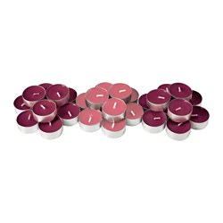 "SINNLIG scented tealight, Fig tree, dark red Diameter: 1 ½ "" Burning time: 4 hr Package quantity: 30 pack Diameter: 38 mm Burning time: 4 hr Package quantity: 30 pack"