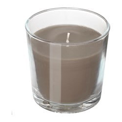 "SINNLIG scented candle in glass, Hazelnut and caramel, brown Height: 3 "" Burning time: 25 hr Height: 7.5 cm Burning time: 25 hr"