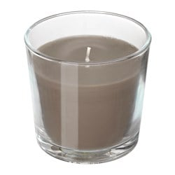 "SINNLIG scented candle in glass, Hazelnut and caramel, brown Height: 3 ½ "" Burning time: 40 hr Height: 9 cm Burning time: 40 hr"