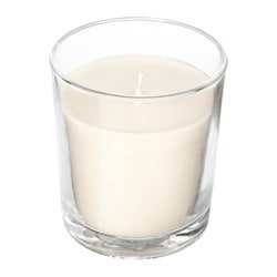 "SINNLIG scented candle in glass, Sweet vanilla, natural Height: 4 ¼ "" Burning time: 55 hr Height: 11 cm Burning time: 55 hr"
