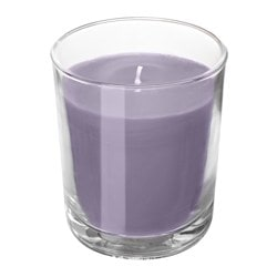 "SINNLIG scented candle in glass, Blackberry, lilac Height: 4 ¼ "" Burning time: 55 hr Height: 11 cm Burning time: 55 hr"
