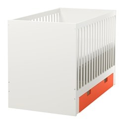 "STUVA crib with drawers, orange Length: 54 3/4 "" Width: 29 1/8 "" Height: 36 1/4 "" Length: 139 cm Width: 74.1 cm Height: 92 cm"