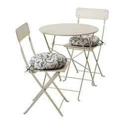 SALTHOLMEN table+2 folding chairs, outdoor, beige, Stegön beige