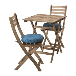 ASKHOLMEN, Table+2 chairs, outdoor, gray/brown gray-brown stained, Ytterön blue