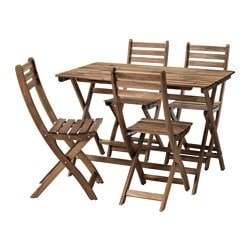 ASKHOLMEN table and 4 chairs, outdoor, gray-brown stained