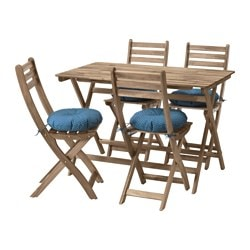 ASKHOLMEN table+4 chairs, outdoor, grey/brown grey-brown stained, Ytterön blue