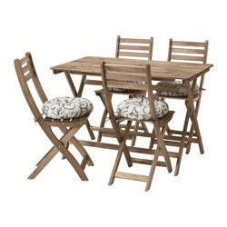 ASKHOLMEN table and 4 chairs, outdoor, gray/brown gray-brown stained, Stegön beige