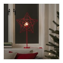 STRÅLA LED table lamp, star red Height: 66 cm Base diameter: 12 cm Cord length: 2.0 m