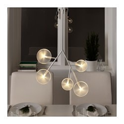 "STRÅLA LED chandelier, 5 arm, white Height: 23 "" Cord length: 13 ' 1 "" Height: 58 cm Cord length: 4.0 m"
