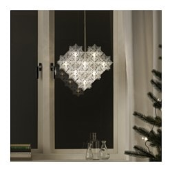 STRÅLA LED pendant lamp, snowflakes Height: 33 cm