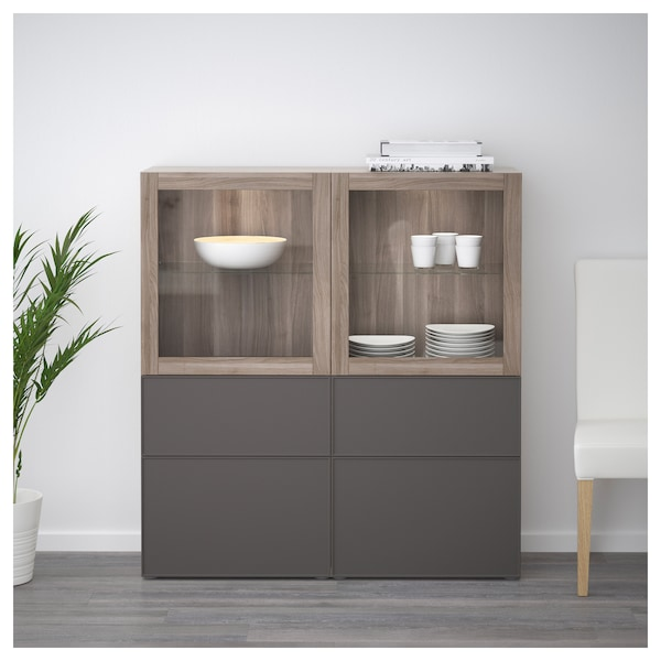 best vitrine grau las nussbaumnachb grundsviken dunkelgrau klarglas ikea. Black Bedroom Furniture Sets. Home Design Ideas