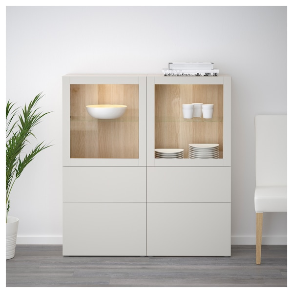 best vitrine eicheneff wlas lappviken klarglas h 39 grau ikea. Black Bedroom Furniture Sets. Home Design Ideas