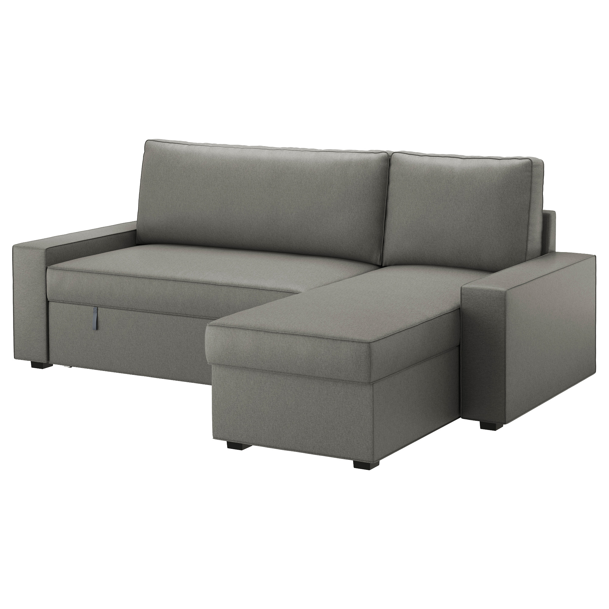 VILASUND Sofa bed with chaise longue - Borred grey-green - IKEA