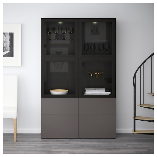 best vitrine schwarzbraun grundsviken dunkelgrau klarglas ikea. Black Bedroom Furniture Sets. Home Design Ideas