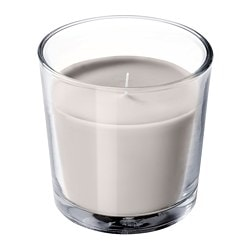 SINNLIG scented candle in glass, Nutmeg and vanilla, gray