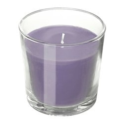SINNLIG, Scented candle in glass, Blackberry, lilac