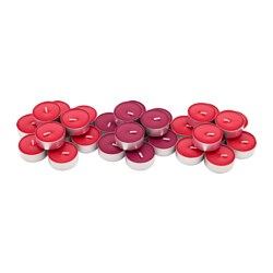 SINNLIG scented tealight, Red garden berries, red Diameter: 38 mm Burning time: 4 hr Package quantity: 30 pieces